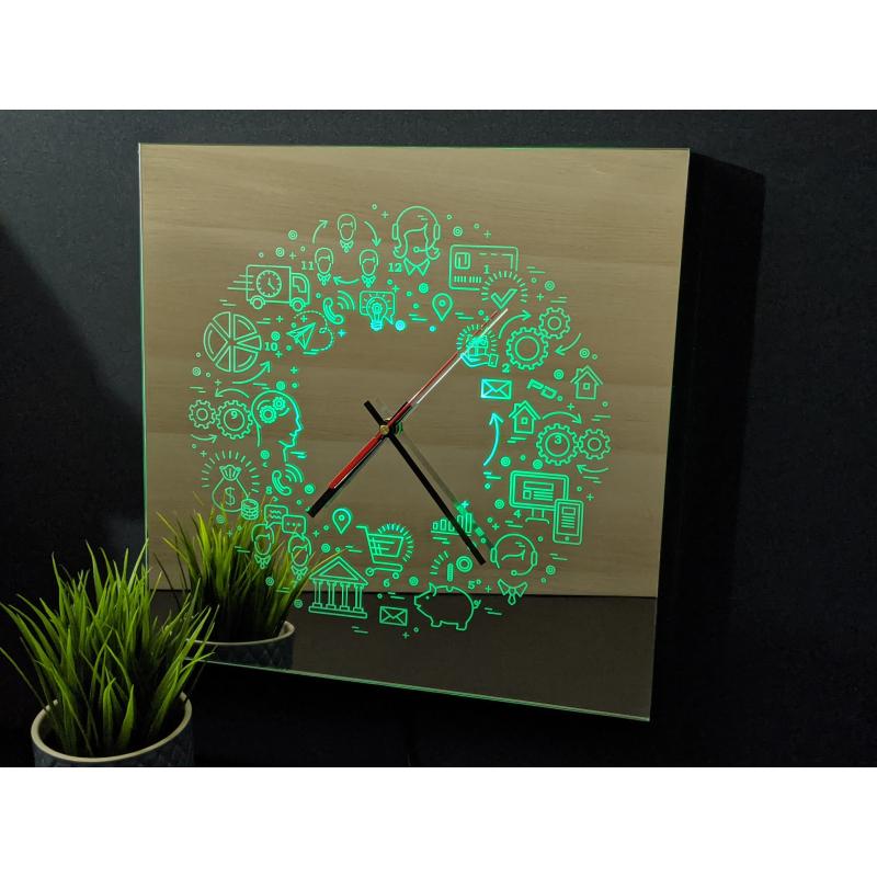 Mirror Clock C2-2020 (Met je eigen logo)