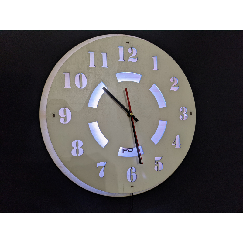 Neon Wood Clock 21-2020 White