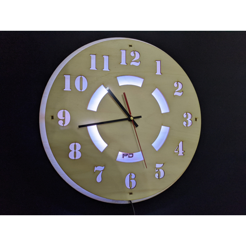 Neon Wood Clock 21-2020 Natural