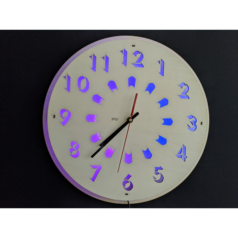 Neon Wood Clock 23-2020 White