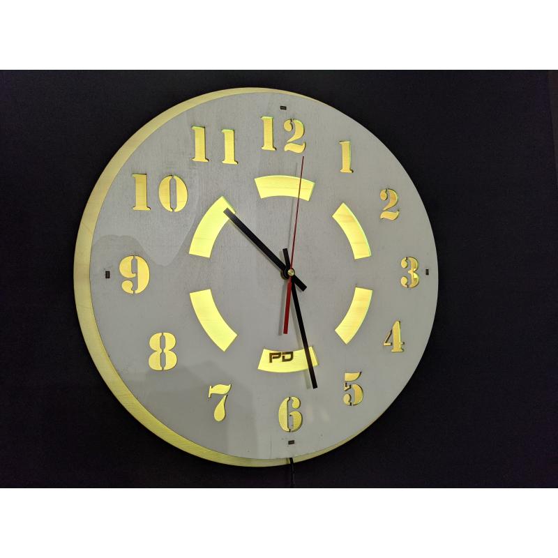 Neon Wood Clock 23-2020 Wit