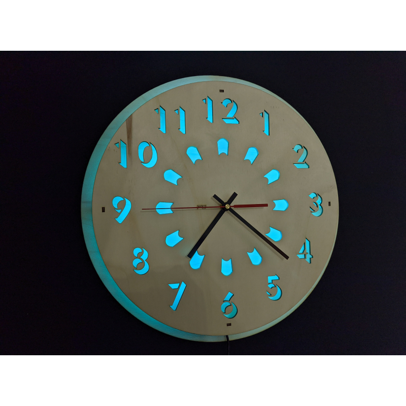 Neon Wood Clock 23-2020 Natural
