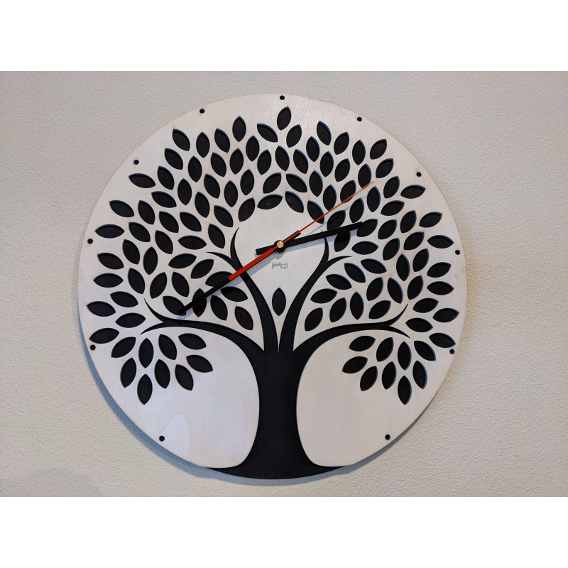 Wood Clock 27-2021 Zwart/Wit