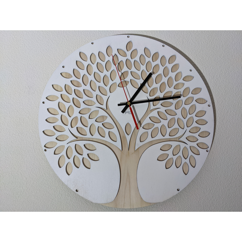 Wood Clock 27-2021 Natural/White