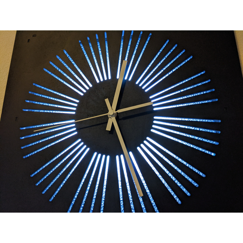 Neon Wood Clock 33-2021 Black
