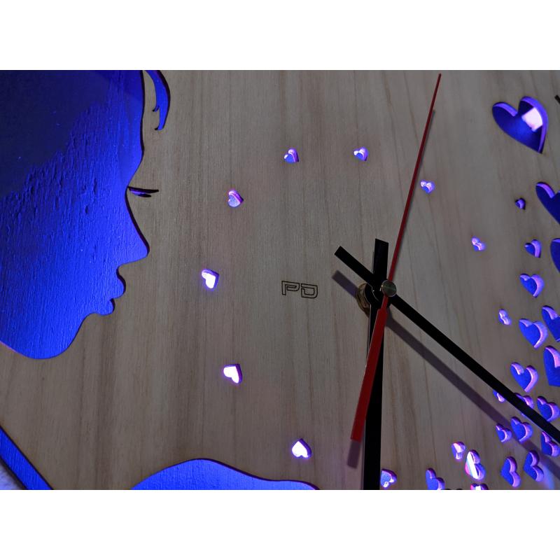 Neon Wood Clock 33-2021 Zwart