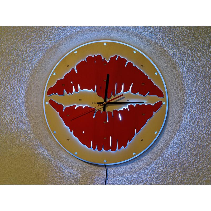 Neon Wood Clock 33-2021 Wit