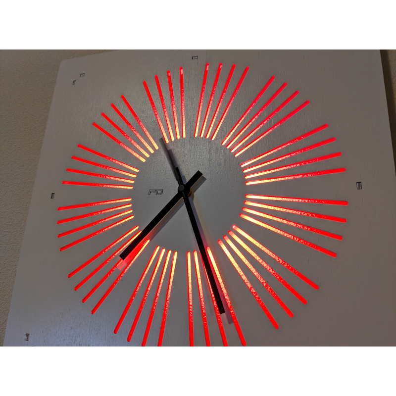 Neon Wood Clock 33-2021 White