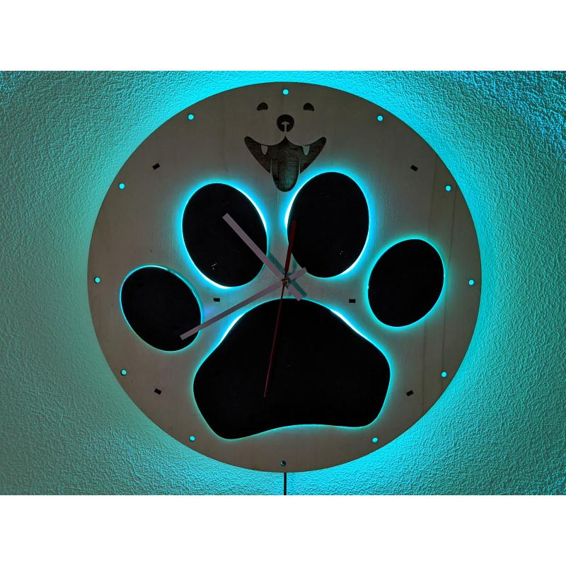 Neon Wood Clock 34-2021