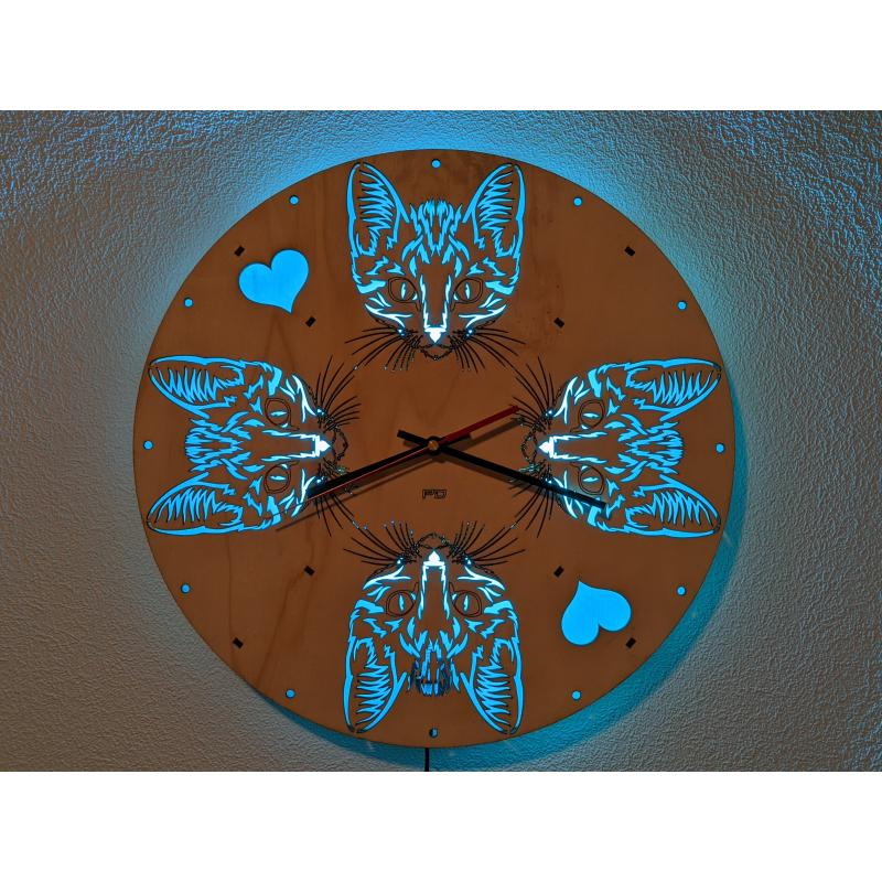 Neon Wood Clock 35-2021
